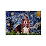 Starry / Basset Hound Rectangle Magnet (10 pack)