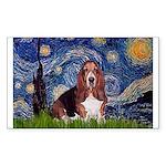 Starry / Basset Hound Sticker (Rectangle)