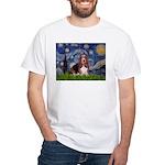 Starry / Basset Hound White T-Shirt