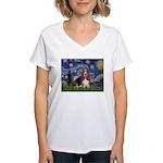Starry / Basset Hound Women's V-Neck T-Shirt