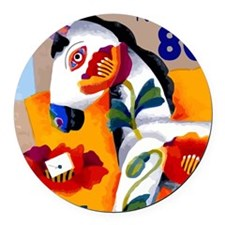 1997 Japan Painted Horse Postage  Round Car Magnet