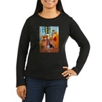 Room with a Basset Women's Long Sleeve Dark T-Shir