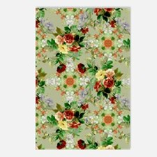 Red Roses on Green Floral Postcards (Package of 8)