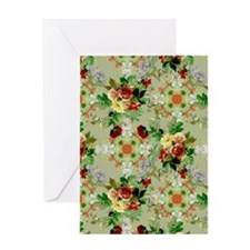 Red Roses on Green Floral Greeting Card