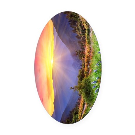 Majestic Sunset Oval Car Magnet