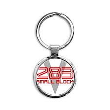 283 Small Block Round Keychain