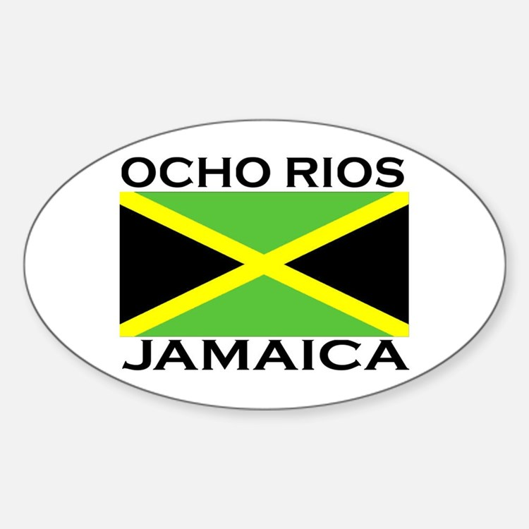 Ocho Rios, Jamaica Flag Oval Decal