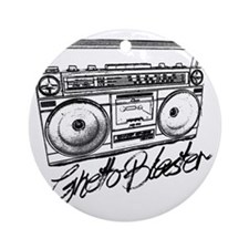 Ghetto Blaster Black Round Ornament