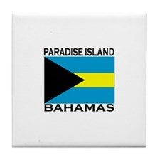 Paradise Island, Bahamas Flag Tile Coaster