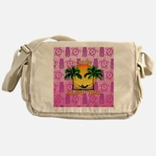 Island Time Pink Tiki Messenger Bag