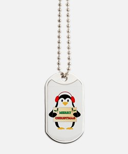 Merry Christmas Penguin Dog Tags