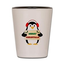 Merry Christmas Penguin Shot Glass
