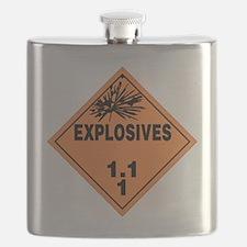 Orange Explosives Warning Sign Flask