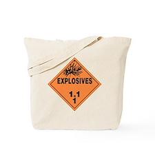 Orange Explosives Warning Sign Tote Bag