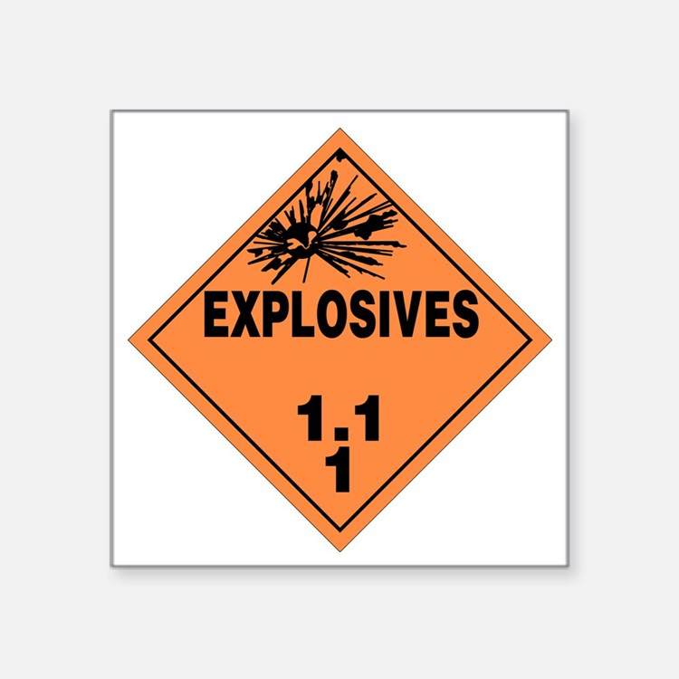 "Orange Explosives Warning S Square Sticker 3"" x 3"""