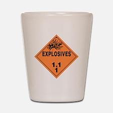 Orange Explosives Warning Sign Shot Glass