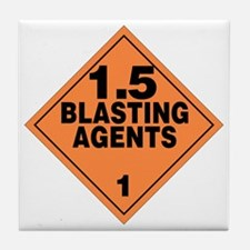 Blasting Agents Orange Warning Sign Tile Coaster