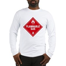 Red Flammable Gas Warning Sign Long Sleeve T-Shirt