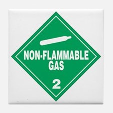 Green Non-Flammable gas warning sign Tile Coaster