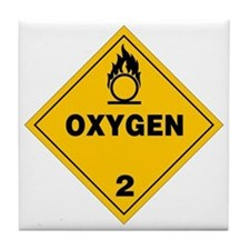 Yellow Oxygen Warning Sign Tile Coaster