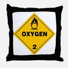 Yellow Oxygen Warning Sign Throw Pillow