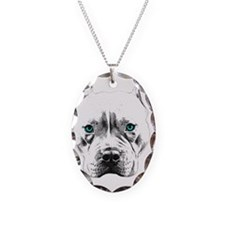 Pit Bull Wings Necklace Oval Charm