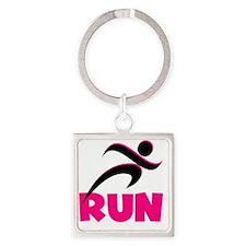 Run Pink Square Keychain