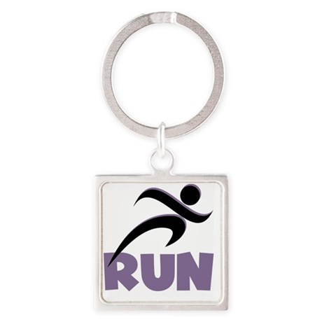 Purple Run Square Keychain
