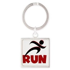 RUN Red Square Keychain