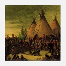 Sioux War Council by George Catlin Tile Coaster