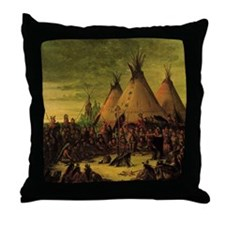 Sioux War Council by George Catlin Throw Pillow