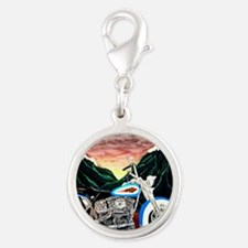 Motorcycle Dream Silver Round Charm