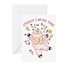 Lamb Jesus Loves Me Greeting Cards (Pk of 10)