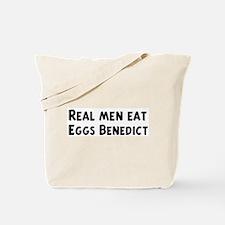 Men eat Eggs Benedict Tote Bag