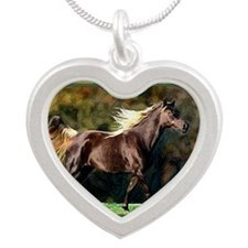 Paso Fino Horse Christmas Silver Heart Necklace