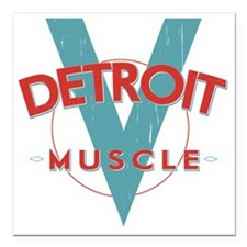 """Detroit Muscle red n blu Square Car Magnet 3"""" x 3"""""""