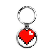 8-bit Pixel Heart Round Keychain
