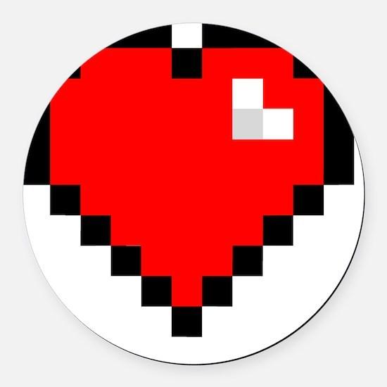 8-bit Pixel Heart Round Car Magnet