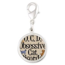 Cat Crazy Silver Round Charm