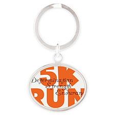 5K Run Orange Oval Keychain