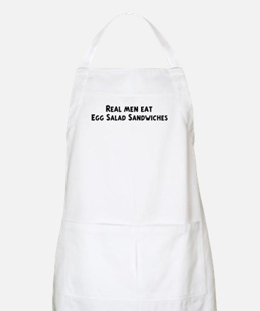 Men eat Egg Salad Sandwiches BBQ Apron