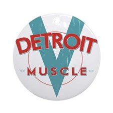 Detroit Muscle red n blue Round Ornament