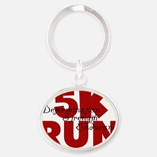 5K Run Red Oval Keychain