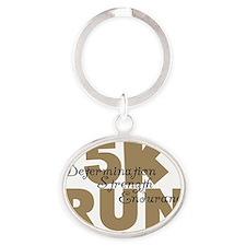 5K Run Tan Oval Keychain