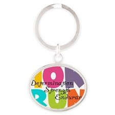 10K Run Multicolors Oval Keychain