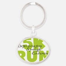 5K Run Spring Green Oval Keychain