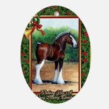 Clydesdale Draft Horse Christmas Oval Ornament