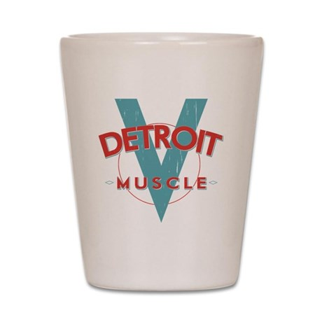 Detroit Muscle red n blue Shot Glass