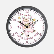 Lamb Jesus Loves Me Wall Clock