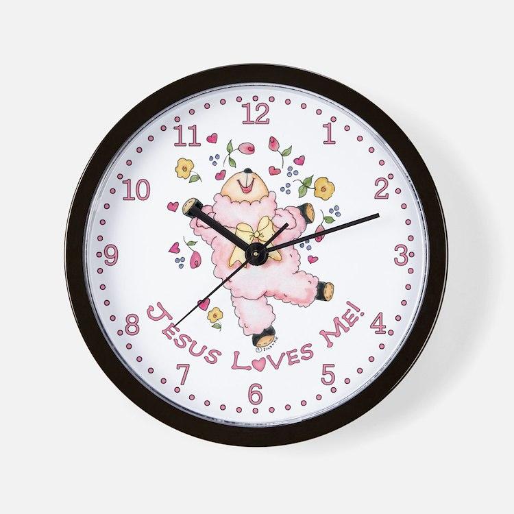 Lamb Jesus Loves Me Wall Clock